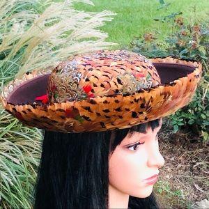 Gorgeous Vintage Pheasant Feather Hat & Hat Box